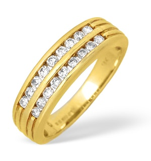 18K Gold Two Row Channel Set Diamond Ring 0.50ct