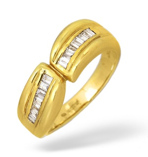 18K Gold Baguette Diamond Channel Set Ring 0.35ct