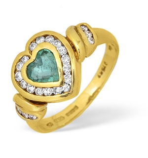 18K Gold Diamond and Emerald Heart Design Ring 0.40ct