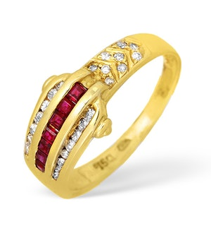 Ruby Ring and Diamond Princess Channel Set Buckle 0.33ct 18K Gold