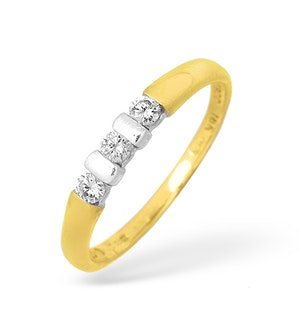 18K Gold Three Stone Diamond Ring with White Gold Detail 0.20ct