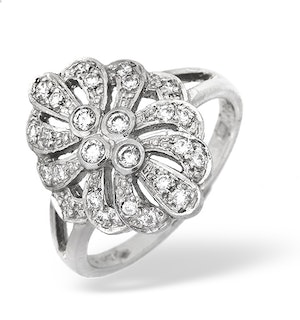 Platinum Diamond Vintage Design Ring 0.35ct