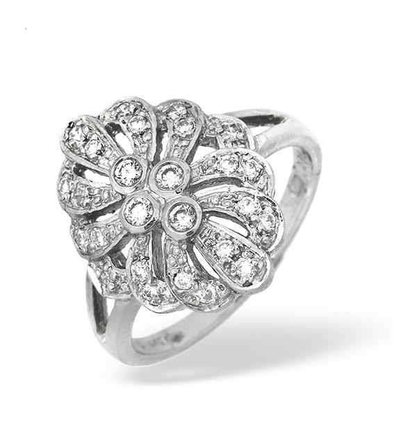 Platinum Diamond Vintage Design Ring 0.35ct - image 1
