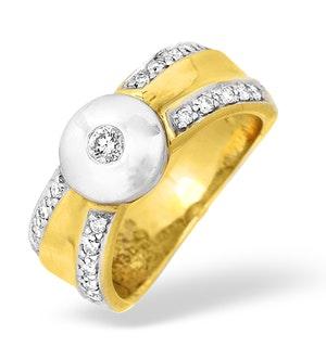 Shoulder Diamonds Rubover Ring 18K Gold White Gold 0.30CT