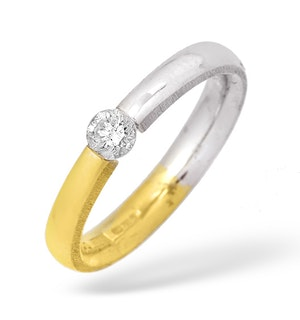 Two Tone Single Stone Diamond Ring 0.20CT