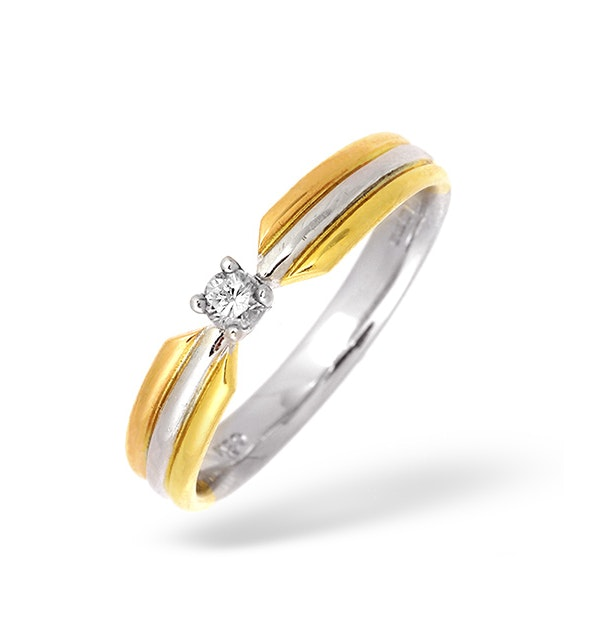 18K Three Tone Diamond Solitaire Ring 0.10CT - image 1