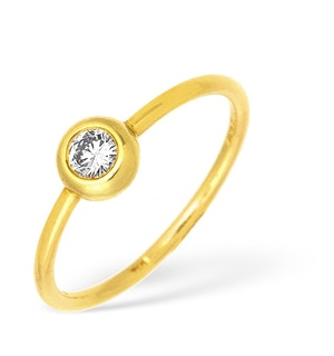 18K Gold Single Stone Diamond Rubover Ring 0.15ct