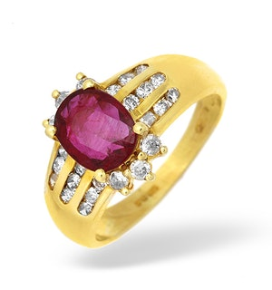 18K Gold Channel Set Diamond and Ruby Ring 0.33CT