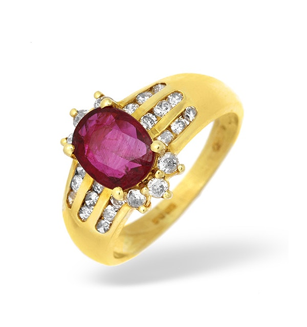 18K Gold Channel Set Diamond and Ruby Ring 0.33CT - image 1
