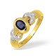 18K Gold Rubover Sapphire Ring with Diamond Shoulder Detail 0.10CT - image 1