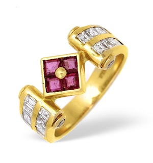 18K Gold Princess Diamond and Ruby Ring with Square Detail 0.75ct