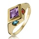 Amethyst Citrine Blue Topaz and Garnet Signature Ring in 9K Gold - image 1