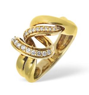 14K Gold Pave Diamond Twist Design Ring