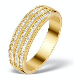 0.48ct Diamond Three Row Half Eternity Ring in 18K Gold