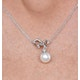 Pearl and Diamond Bow Stellato Necklace 0.05ct in 9K White Gold - image 3