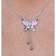 Pink Sapphire Diamond Stellato Butterfly Necklace in 9K White Gold - image 3