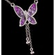 Pink Sapphire Diamond Stellato Butterfly Necklace in 9K White Gold - image 4