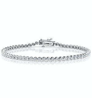 Diamond Tennis Bracelet Rubover Set 1.00ct H/Si in 18K White Gold