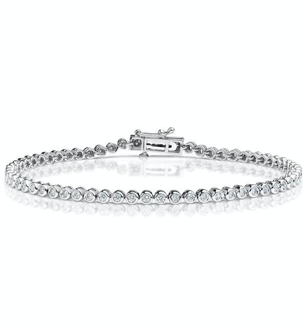 Diamond Tennis Bracelet Rubover Set 1.00ct H/Si in 18K White Gold - image 1