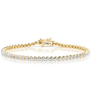 Diamond Tennis Bracelet Rubover Set 1.00ct H/Si in 18K Gold