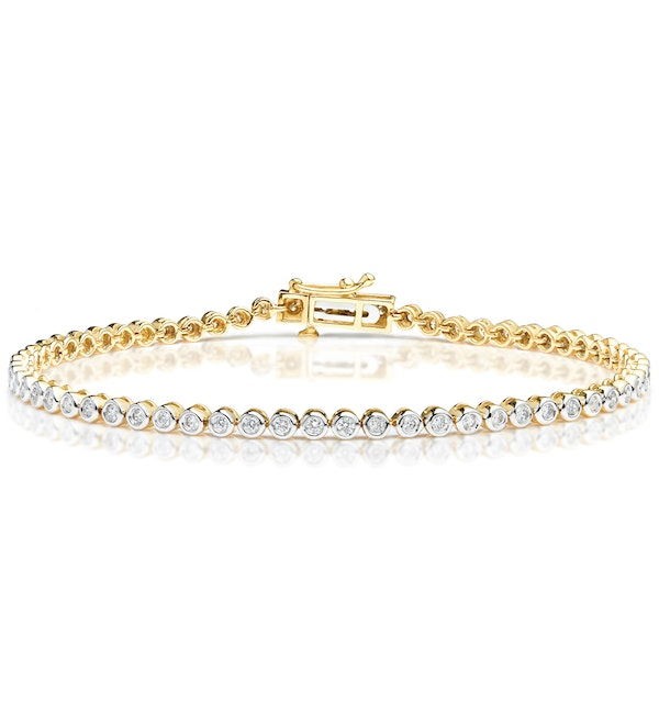 Diamond Tennis Bracelet Rubover Set 1.00ct H/Si in 18K Gold - image 1