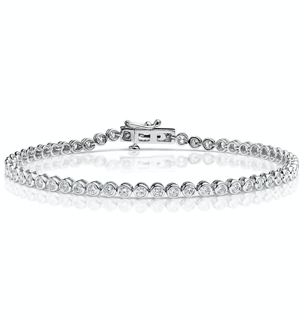 Diamond Tennis Bracelet Rubover Set 2.00ct H/Si in 18K White Gold - image 1