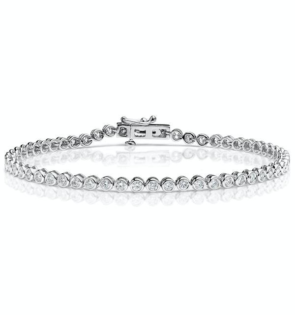 Diamond Tennis Bracelet Rubover Set 2.00ct H/Si in 18K White Gold - image 1