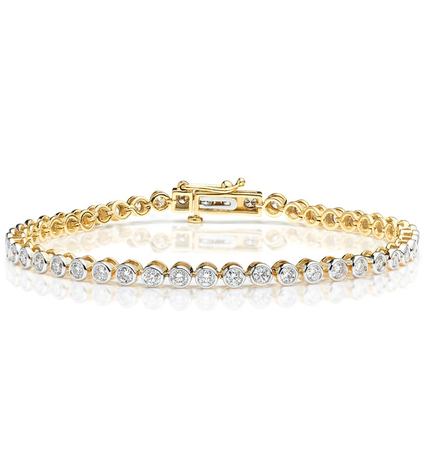 Diamond Tennis Bracelet Rubover Set 3.00ct H/Si in 18K Gold - image 1