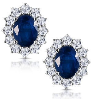Sapphire and 1.5ct Diamond Earrings 18K White Gold Asteria Collection