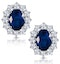 Sapphire and 1.5ct Diamond Earrings 18K White Gold Asteria Collection - image 1