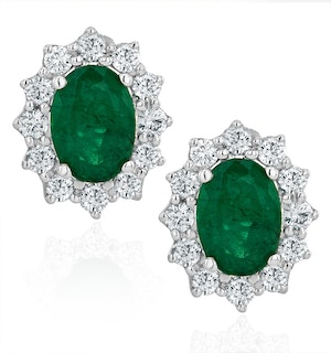 Emerald and Diamond Cluster Earrings 7 x 5mm in 18K White Gold