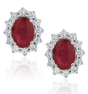 Ruby and Diamond Cluster Earrings 7 x 5mm in 18K White Gold