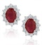 Ruby and Lab Diamond Cluster Earrings 7 x 5mm in 18K White Gold - image 1