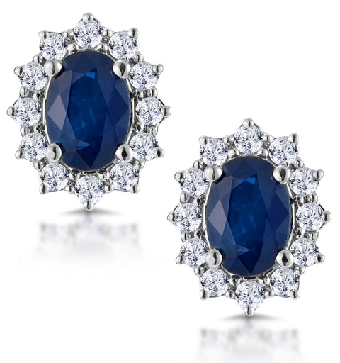 Sapphire and 0.5ct Diamond Earrings 18K White Gold Asteria Collection - image 1