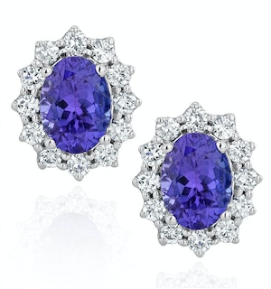 Tanzanite and Lab Diamond Cluster Earrings 7 x 5mm in 18K White Gold