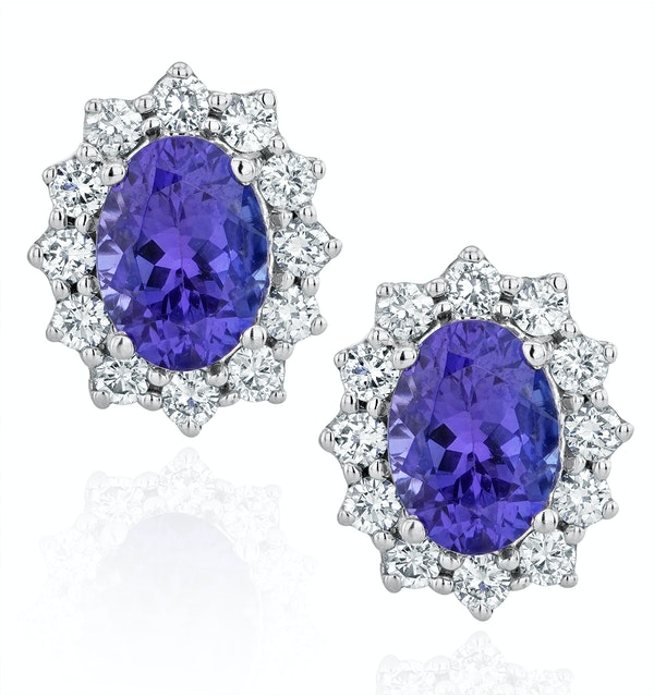 Tanzanite and Lab Diamond Cluster Earrings 7 x 5mm in 18K White Gold - image 1
