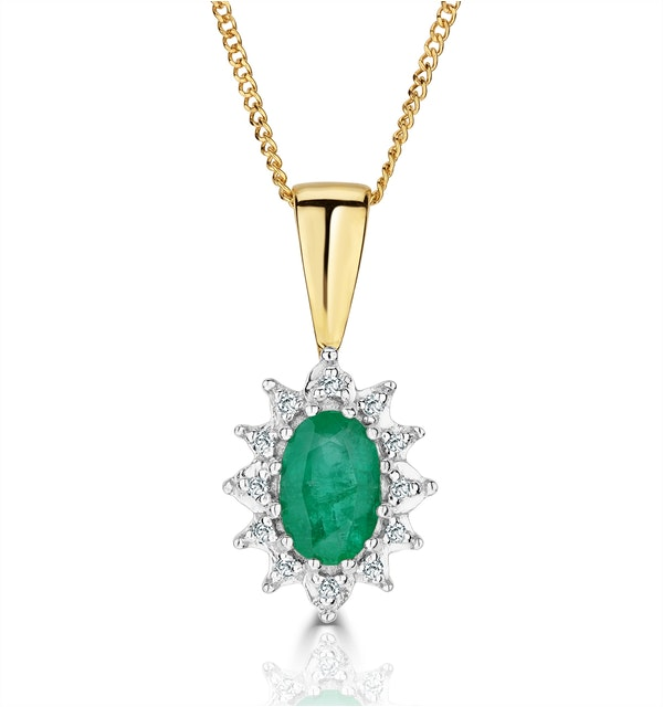 Emerald 0.43CT And Diamond 9K Yellow Gold Pendant Necklace - image 1