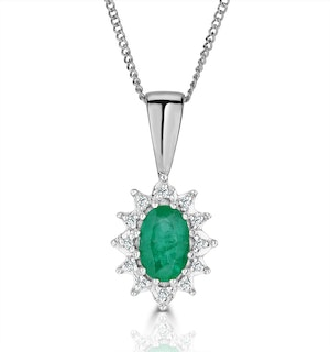 Emerald 0.52CT And Diamond 9K White Gold Pendant