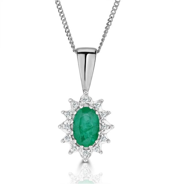 Emerald 0.52CT And Diamond 9K White Gold Pendant Necklace - image 1