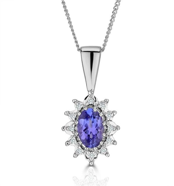 Tanzanite 6 x 4mm And Diamond 9K White Gold Pendant Necklace - image 1