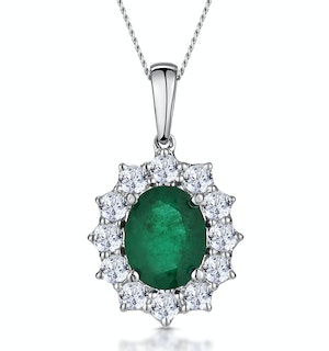 Emerald and Diamond Cluster Necklace Pendant 9x7mm in 18K White Gold