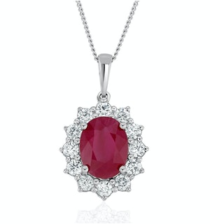 Ruby and Lab Diamond Cluster Necklace Pendant 9x7mm in 18K White Gold