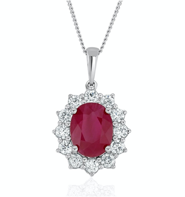 Ruby and Lab Diamond Cluster Necklace Pendant 9x7mm in 18K White Gold - image 1