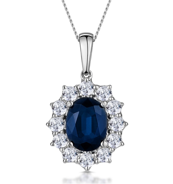 Sapphire and 0.75ct Diamond Necklace 18K White Gold Asteria Collection - image 1