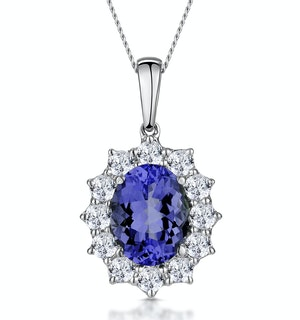 Tanzanite and Lab Diamond Cluster Necklace 9x7mm in 18K White Gold