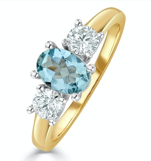 Aquamarine 0.70ct and Lab G/Vs Diamonds 0.50ct 18K Gold Ring FET23-C
