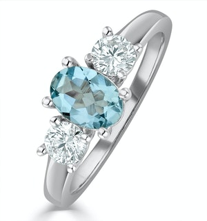 Aquamarine 0.70ct and Diamond 0.50ct 18K White Gold Ring