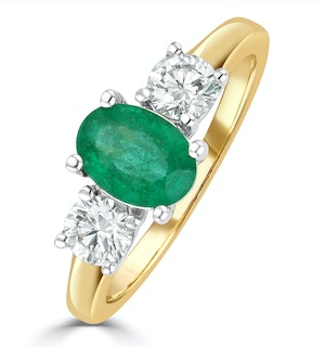 Emerald 0.70ct And Diamond 0.50ct 18K Gold Ring  FET23-G