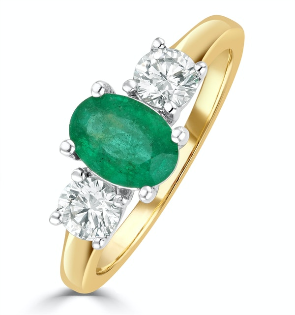 Emerald 0.70ct And Diamond 0.50ct 18K Gold Ring  FET23-G - image 1