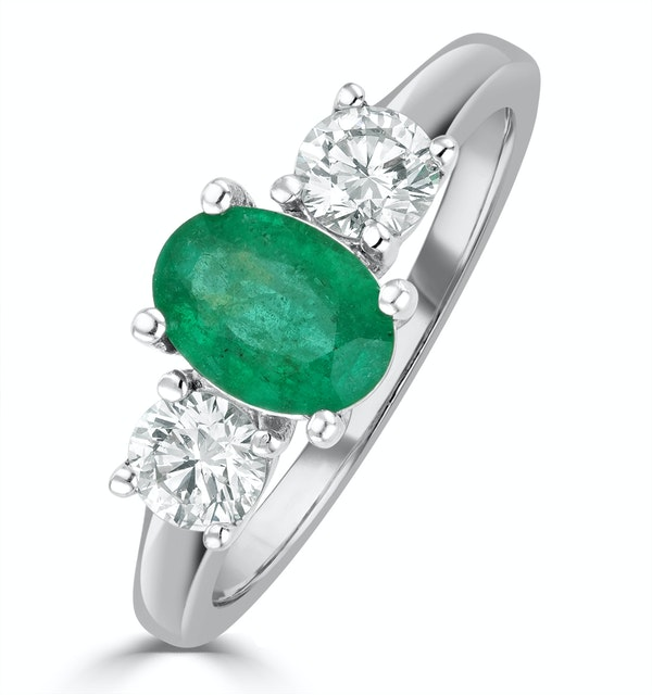 Emerald 0.70ct And Diamond 0.50ct Platinum Ring - image 1
